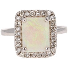 2.43 Carat Opal Diamond White Gold Ring