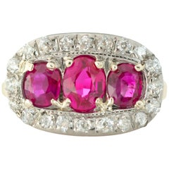 1910s Ruby and Diamond Platinum and 18 Karat Gold Ring