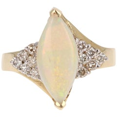 1.88 Carat Opal Diamond Yellow Gold Ring