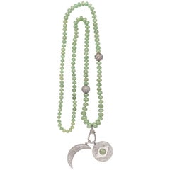 Evil Eye Crescent Raw Emerald Beaded Necklace