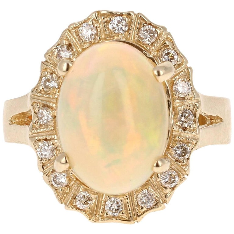 3.63 Carat Oval Cut Opal Diamond Yellow Gold Cocktail Ring