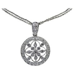 White Gold .62 Carat Diamond Vintage Inspired Medallion Pendant Necklace