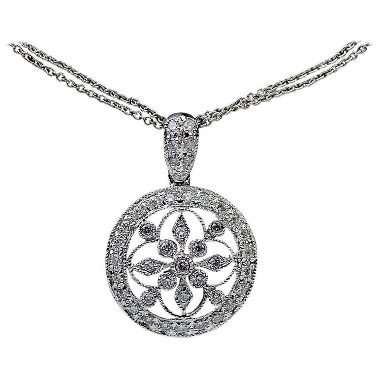 .62 Carat Diamond Vintage Inspired 14 Karat White Gold Pendant Necklace