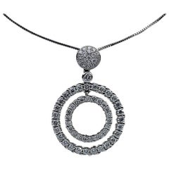 1.15 Carat Diamond Double Circle 18 Karat White Gold Pendant Necklace