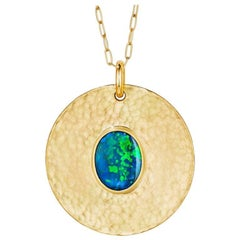 Large 18 Karat Gold Pendant Necklace with 2.03 Carat Solid Australian Opal