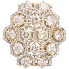 White Diamond and Champagne Diamond White Gold Cocktail Ring