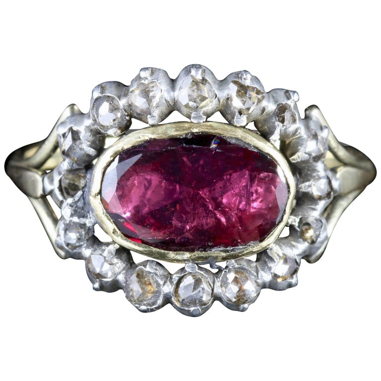 Antique Georgian Flat Cut Garnet Diamond Ring, circa 1750