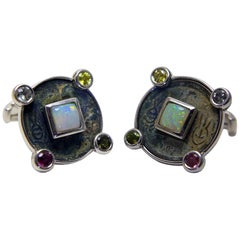 Antique Coins Opals Tourmalines Silver Chinese Zodiac Cufflinks