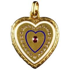Antique Georgian Diamond Ruby Enamel 18ct Gold Heart Locket Pendant, circa 1830