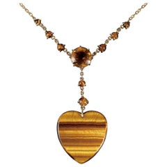 Antique Victorian Tigers Eye Heart Pendant Citrine Necklace, circa 1900