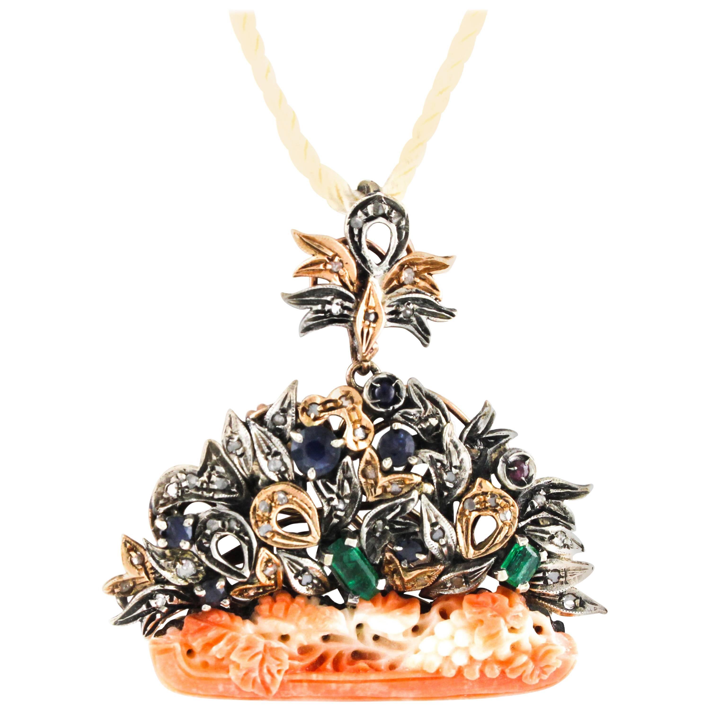 Orange Coral,Diamond,Ruby,Emerald,Sapphire, Rose Gold/Silver Brooch/Pendant