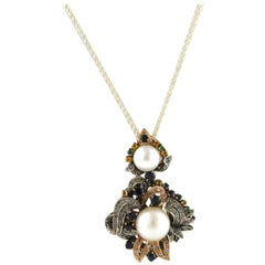 Rose Gold Pendant and Silver with Diamonds, Pearls and Precious Stones