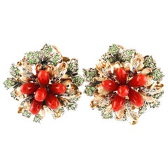 Tsavorite Antique Diamonds Italian Coral Gold and Silver Flower Earrings