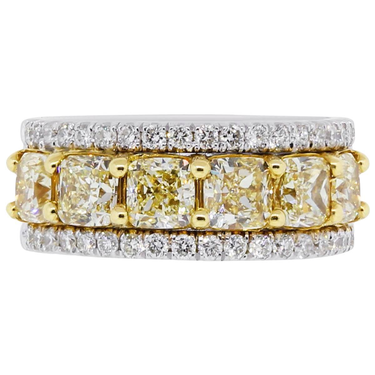 GIA Certified Fancy Yellow Radiant Cut Diamond Ring