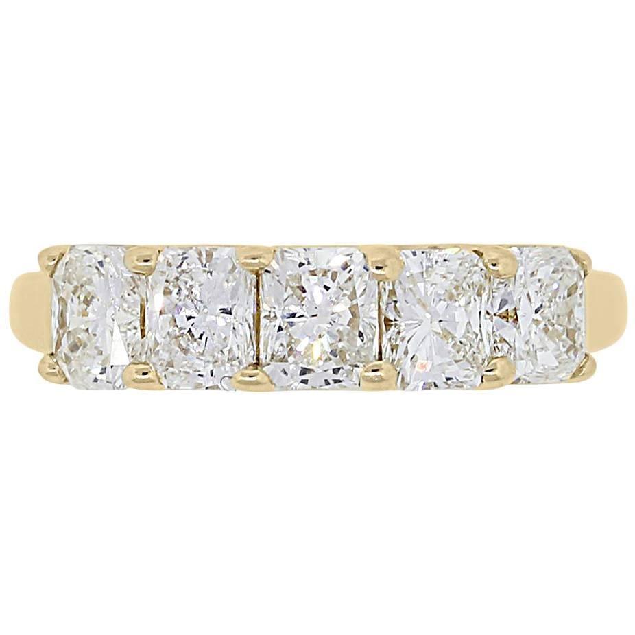 5 Stone Radiant Cut Diamond Band Ring