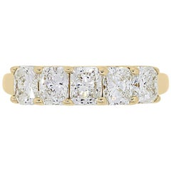 5 Stone Radiant Cut Diamond Band Ring