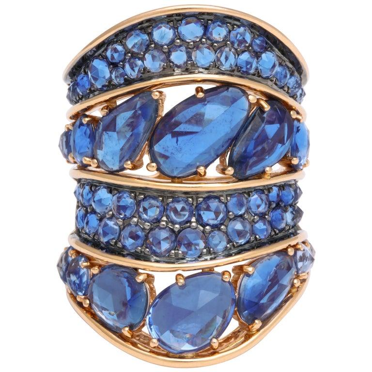 Sapphire Rose-Cut Cigar Band Ring