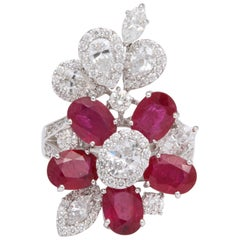 Ruby and Diamond White Gold Cocktail Ring