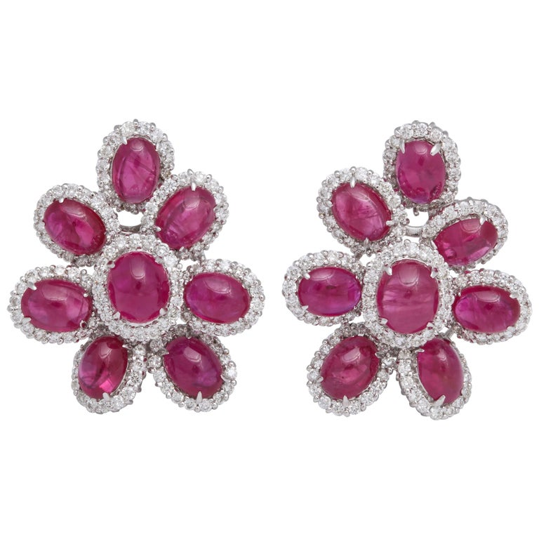 Ruby and Diamond White Gold Earrings For Sale