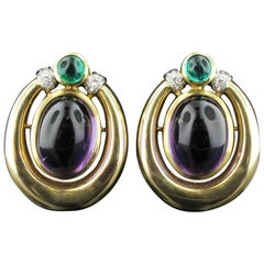 David Webb Amethyst, Diamond, and Emerald in 18KT Yellow Gold Earrings