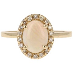 0.97 Carat Opal Diamond Yellow Gold Ring