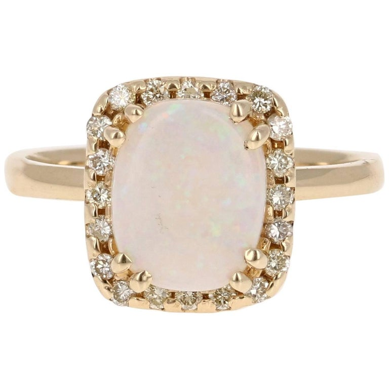 1.65 Carat Opal Diamond Yellow Gold Ring