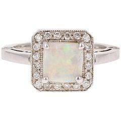 1.32 Carat Opal Diamond White Gold Ring