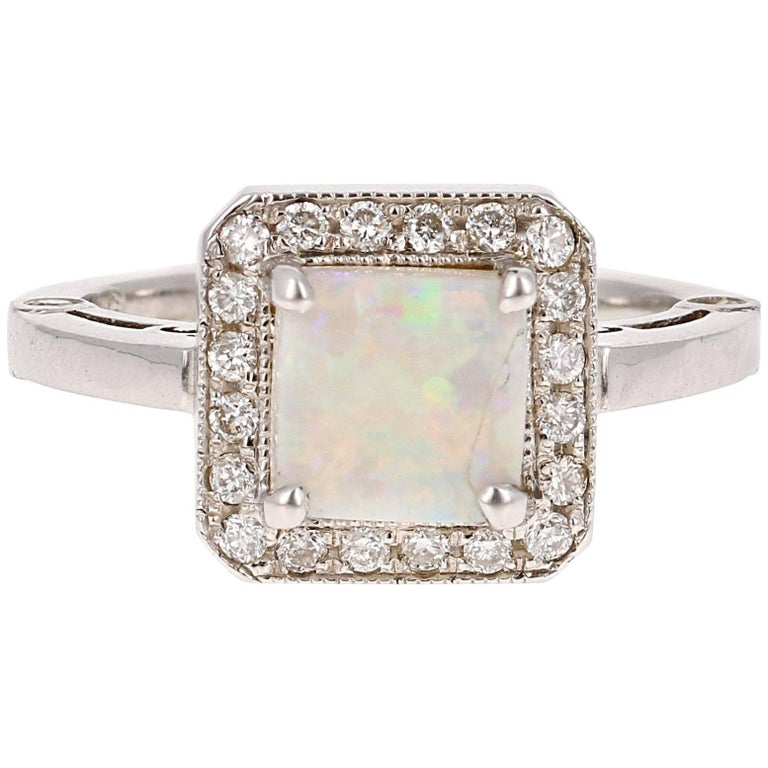 1.32 Carat Opal Diamond White Gold Ring For Sale