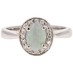 0.97 Carat Opal Diamond White Gold Ring
