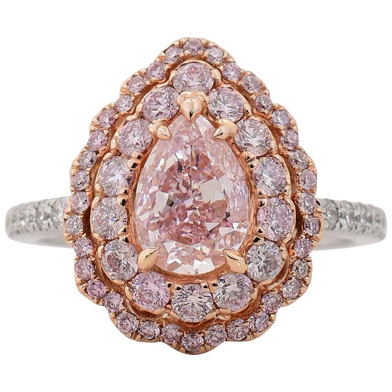 GIA Certified 1.21 Carat Fancy Pink Diamond Engagement Ring