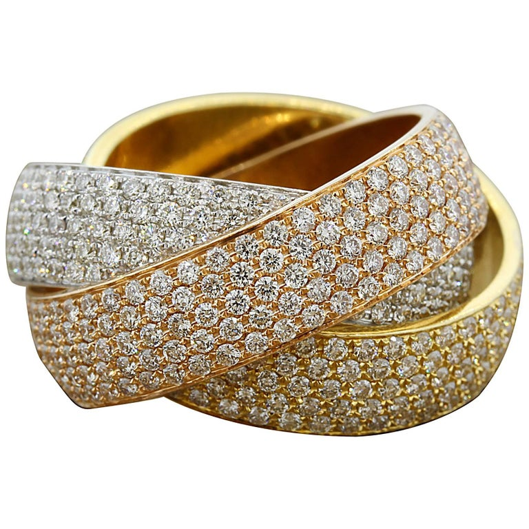 Diamond Gold Trinity Band Ring For Sale