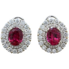 Rubelite Tourmaline Diamond Gold Earrings