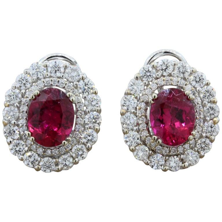 Rubelite Tourmaline Diamond Gold Earrings For Sale