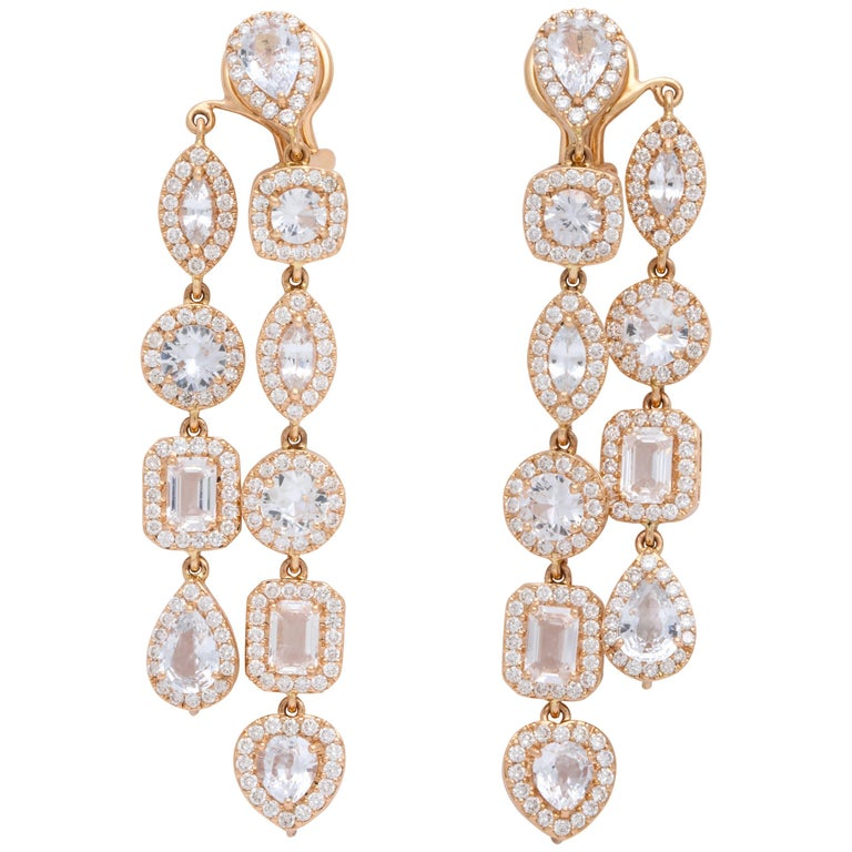 Double Strand Diamond and White Sapphire Rose Gold Drop Earrings