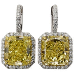 Fancy Yellow Diamond Gold Platinum Drop Earrings
