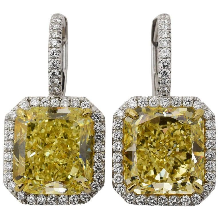 Fancy Yellow Diamond Gold Platinum Drop Earrings