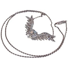 Victorian Diamond Heart and Wings Necklace