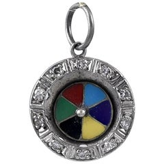 Antique Platinum, Diamond Enamel Roulette Wheel Charm