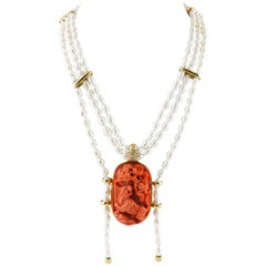 Engraved Face on Red Coral, Diamonds, Pearls Rows, 18K Yellow Gold Necklace
