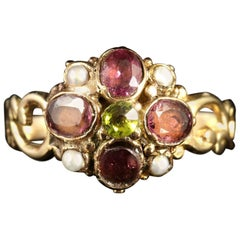 Antique Georgian Suffragette 18 Carat Ring Garnet Peridot Pearl, circa 1800