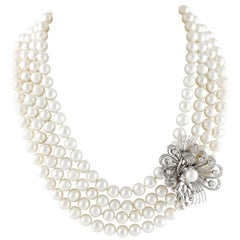 Multi-Strand Pearls Necklace with Pendant, Pendant in 18 Karat Gold and Diamonds