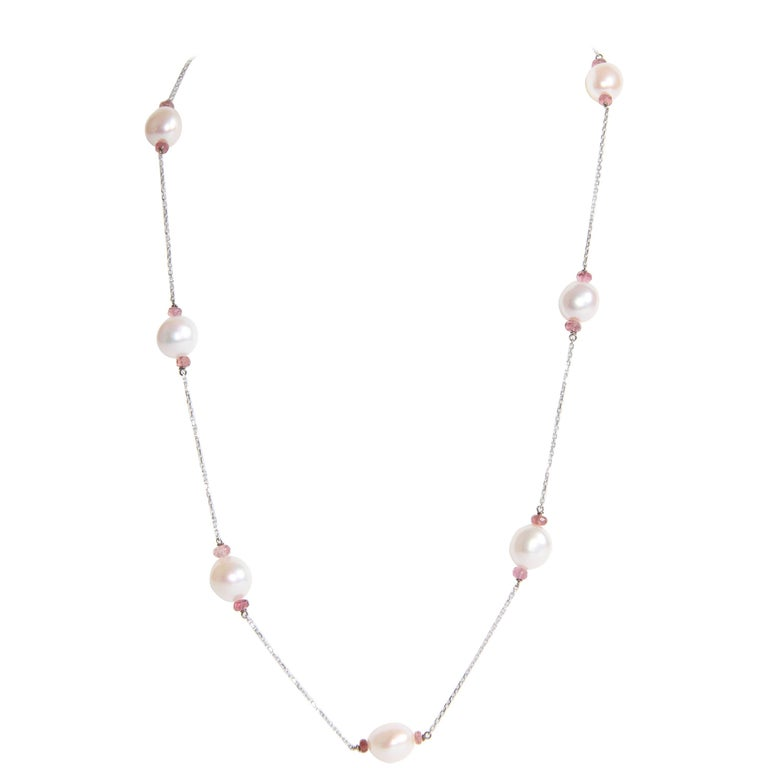 Pearls Necklace with Pink Tourmalines Faceted Washers by Marion Jeantet