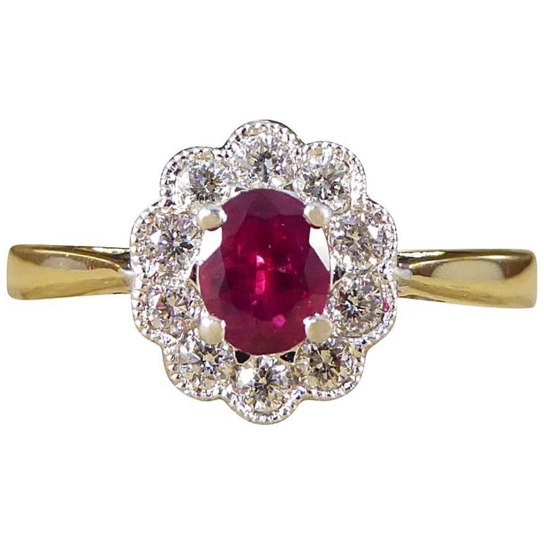 Ruby and Diamond Cluster Engagement Ring in 18 Carat Gold