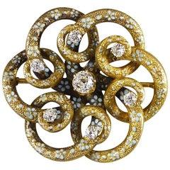 Antique Victorian Diamond Set Floral Gold Pendant