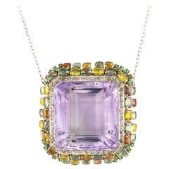 White Gold Pendant with Precious Stones, Diamonds and Amethyst