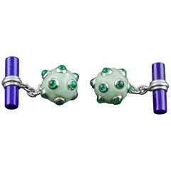 Submarine Mine Gold Cufflinks in Jade, Emeralds and Lapis Lazuli