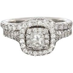 Neil Lane 1.33 Carat Princess Diamond Double Halo Engagement Ring Wedding Set