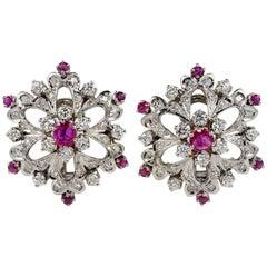 Vintage 1.0 Carat Ruby 1.95 Carat Diamond Unique Flower Earrings