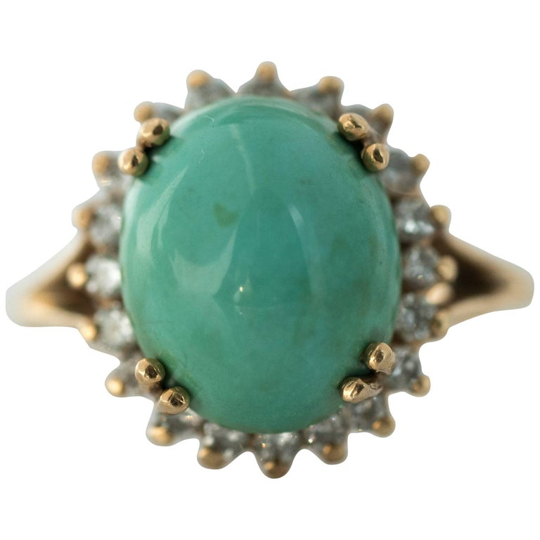 1950s Tiffany & Co. Persian Turquoise Cabochon Diamond Halo 14 Karat Gold Ring For Sale