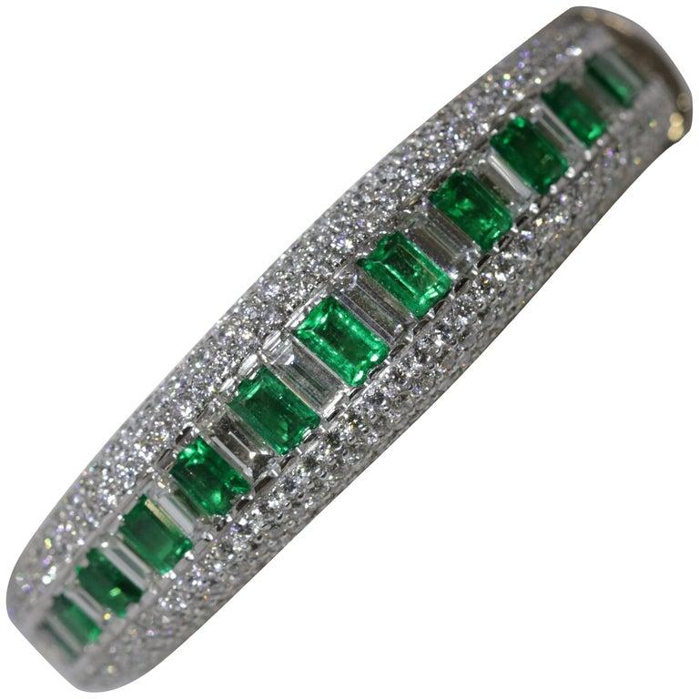 Diamond and Emerald Cuff Bracelet